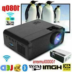 10000 Lumens Portable Mini Projector LED LCD WIFI Bluetooth