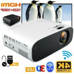 1080P 4K HD WiFi Bluetooth 3D LED Mini Video Projector Home