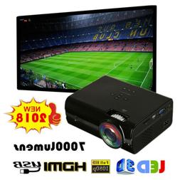 7000 Lumens 1080P Full HD Mini LED Projector 3D Home Theater