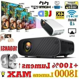 1080P HD WiFi Bluetooth 3D LED Mini Video Projector Home Cin