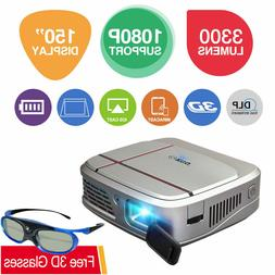 EUG Pocket DLP 3D Projector 1080P WiFi Airplay Miracast For