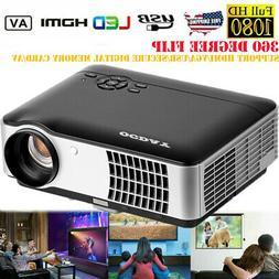 1080P Portable Mini LED Projector 4K 3D HD Video Home Theate