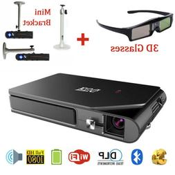 1600lms HD Wifi Bluetooth Pocket Projector 3D Movie Office P