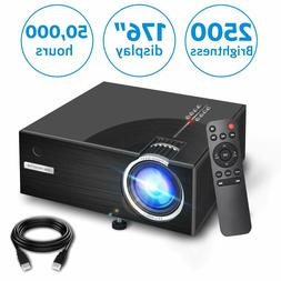 2019 Mini Projector, Full HD 1080P and 176'' Display Support