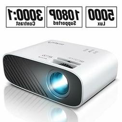 ELEPHAS 2020 Mini Movie Projector 5000 LUX Full HD 1080P Vid