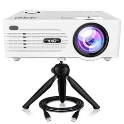 QKK 2400Lux Mini Projector -Full HD LED Projector 1080P Supp