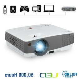 EUG 4000lm Mini LED Projector HD 1080P Portable Movie Home T