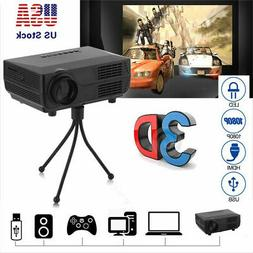 3D 1080P Mini Projector LED Multimedia Full HD Home Theater