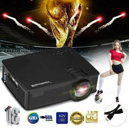 3D Portable LED LCD Projector HD 7000Lumen USB/SD/AV Home Ci