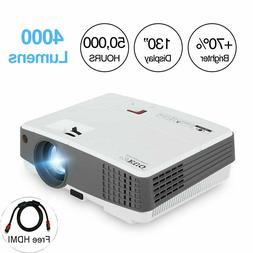 EUG 4000lm Mini LED Projector HD 1080P Portable Movie Home T