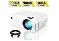 "ELEPHAS 4500 Lumens Portable Projector Max 180"" Display 50"