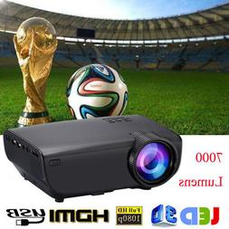 4K 1080P 7000 Lumens LED Mini Projector Home Theater Multime