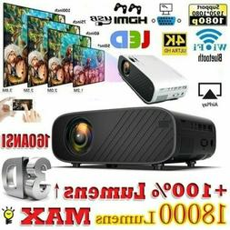 4K 1080P HD WiFi 3D LED Mini Video Theatre Projector Home Ci