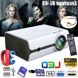Mini Multimedia 3D LED Projector 5000Lumens FHD 1080P AV HDM