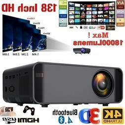 4K HD 1080P LED Mini Projector BT Home Theater Cinema USB HD