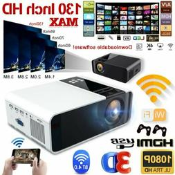 4K HD 1080P Mini Wifi Bluetooth LED Projector Video Home The