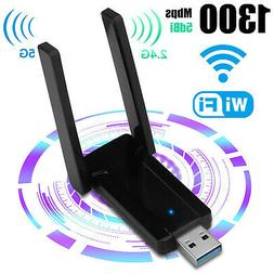 1300Mbps 2.4G/5G Dual Band USB 3.0 WiFi Adapter w/Antenna fo