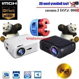 5000 Lumens Mini 3D Home Cinema Theater LED Projector 1080P