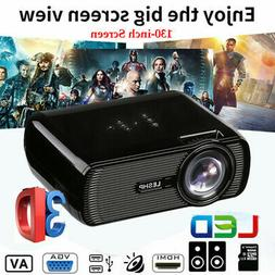 5000 Lumens Mini Portable 3D HD LED Projector 1080P Home Cin