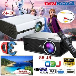 5000 Lumens Mini Portable LCD LED Projector 3D FHD 1080P Hom
