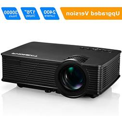"Projector, PHONECT 2400 LUX 4Inch Mini Projector with 170"" D"
