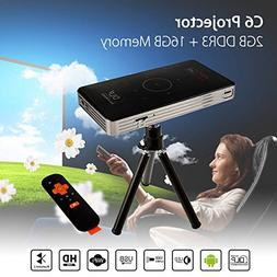 Android Smart DLP Mini Projector,4K LED 1080P WiFi Bluetooth