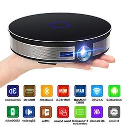 CANGSIKI D8S LED Android 6.0 Smart Projector,4K Decoding Tru