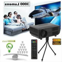 Full HD 1080P Mini Projector LED 3D 3000 Lumens Home Theater