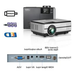 HD 2800LMS Portable Mini LED Projector Wired Mirror Screen H