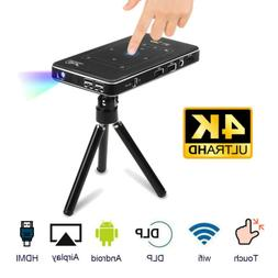 HD 4K Smart DLP Mini Projector Android WiFi Bluetooth 1080P