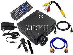 HD Multimedia LED Mini Projector Home Cinema Theater AV TV V