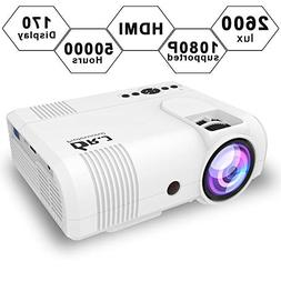 DR.J 2600Lux LCD Mini Projector Compatible with Laptop/USB/P