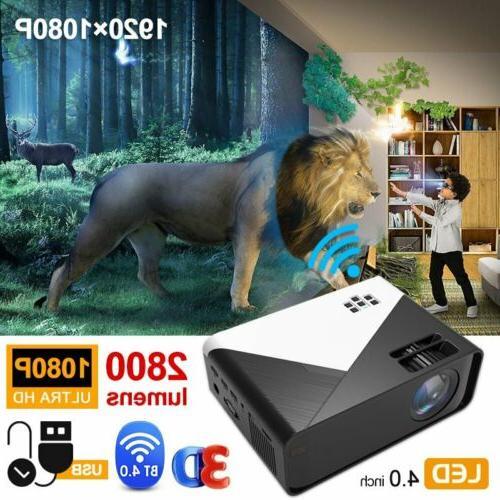 1080P 4K Android Portable Mini Video Projector Wifi Bluetoot