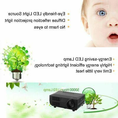 1080P HD Mini 3D Projector LED Multimedia Theater Cinema USB VGA HDMI