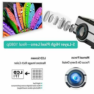 1080P 3D Projector LED Theater Cinema VGA HDMI