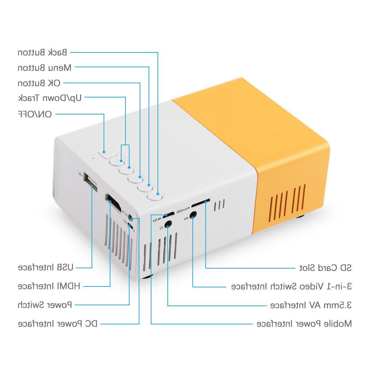 Mini LED Projector HD 1080P Portable Movie HDMI