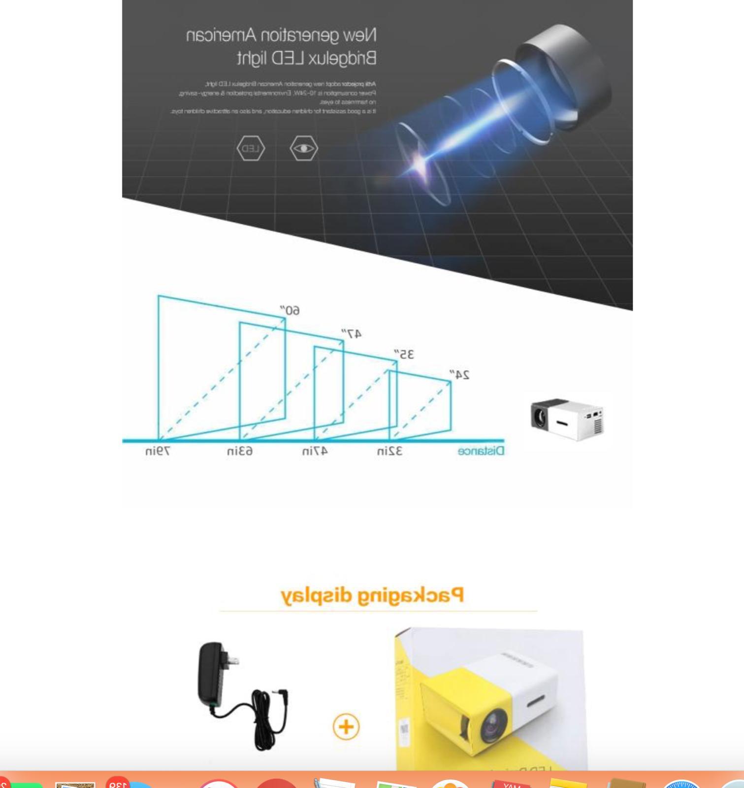 1080P USB HDMI AV SD Portable LED