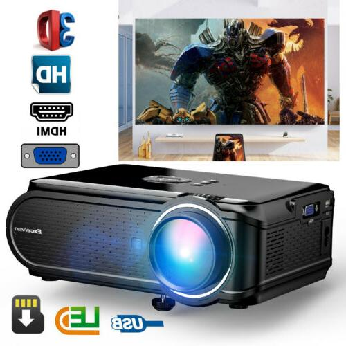 "Portable 7000 Lums 1080P 130"" Mini LED Projector Home Thea"
