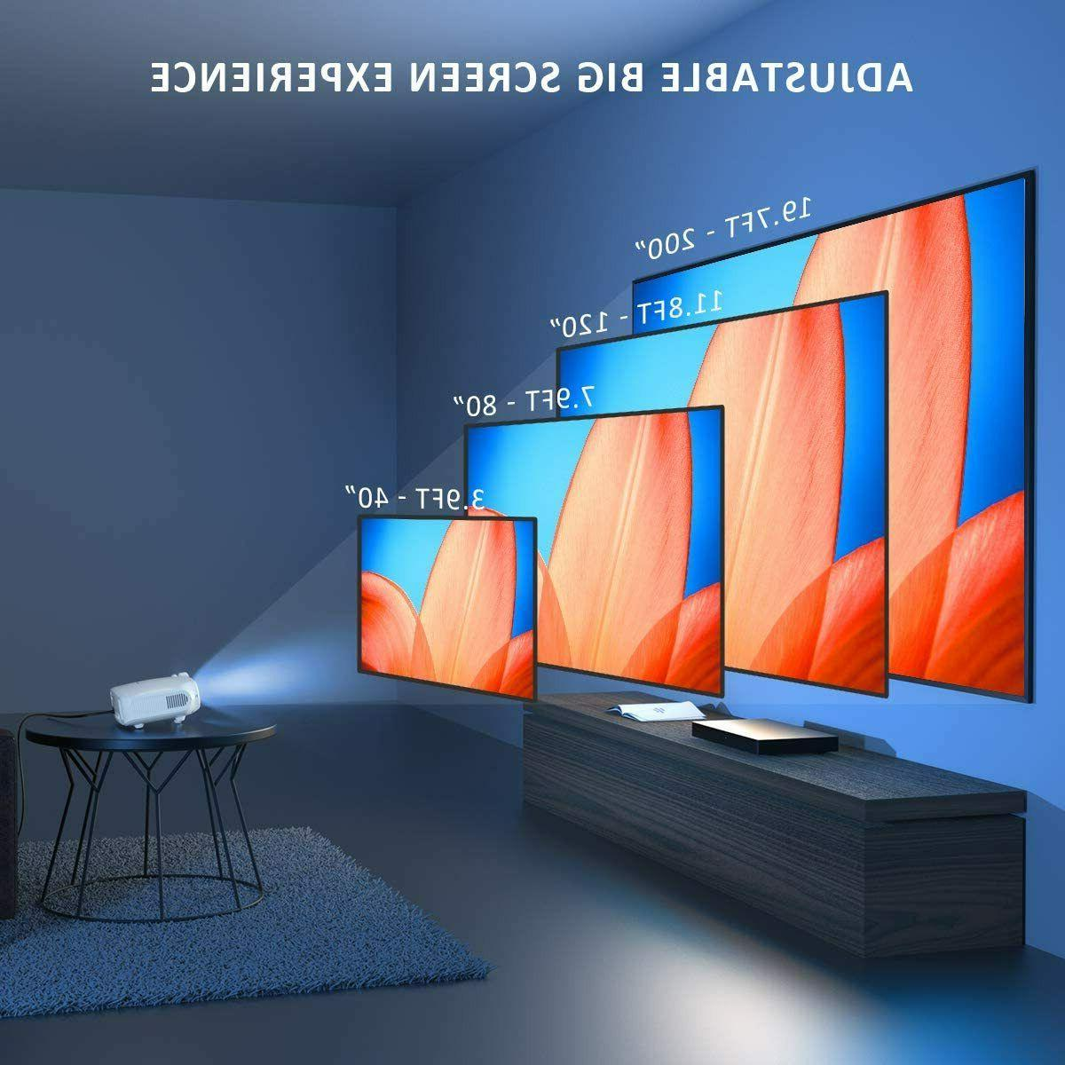 """1080P Phone Video Projector Theater HDMI 200"""" Screen"""