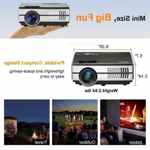 2800lm Mini LED Smart Projector Android WiFi Home HDMI