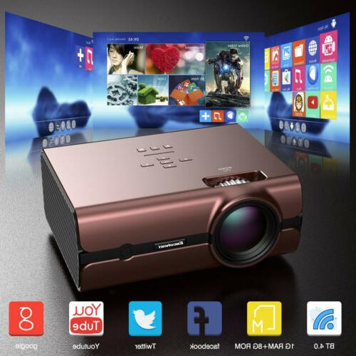 LED Smart Home Theater Projector Android 6.0 4K Wifi Bluetoo