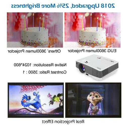 EUG 4000lms Projector HD Theater HDMI*2 US