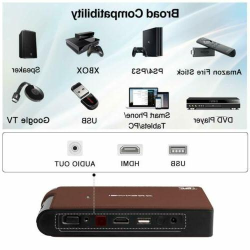 EUG 3600LMS Mini Portable Projector 3D HD Home Theater HDMI US
