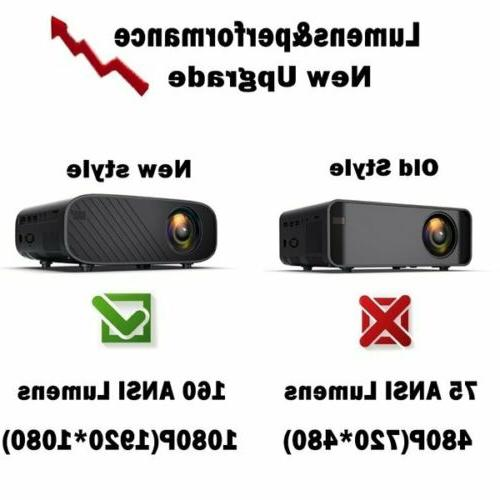 4K 1080P Bluetooth 3D Mini Home Video Projector 18000