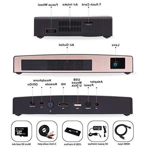 3D Mini DLP Projector HD 8400mAh Rechargeable Battery Supports Smart Phone Multimedia