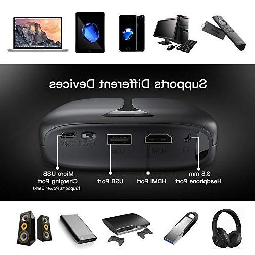 3D Mini Projector, WiFi DLP Pico Video Projector Supports 1080P Ideal for iPhone Smart-Phone USB YouTube Koala Movie Party