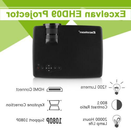 3D Portable Projector HD 7000Lumen Home Cinema Video