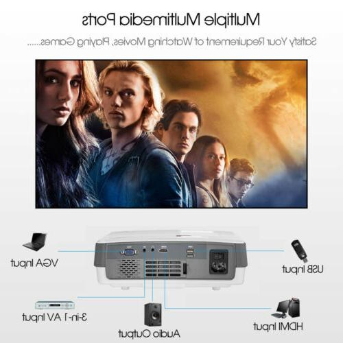 EUG HD Mini LED Projector Portable Movie Home Theater USB