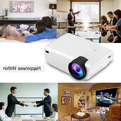 4K 1080P 7000 LED Mini Projector Theater Multimedia HDMI USB