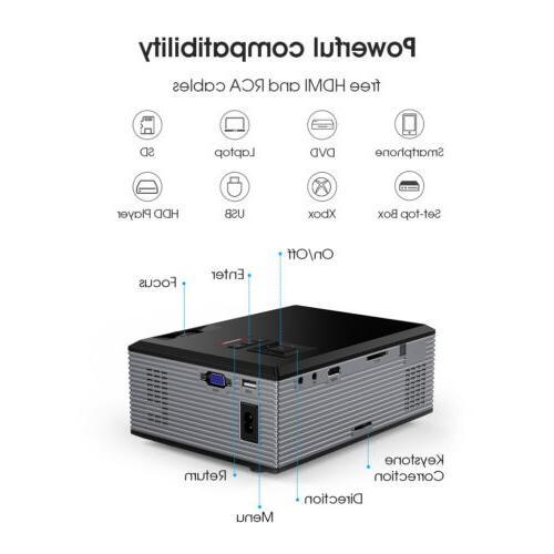 5000 Mini Projector 1080P Theater 3D USB VGA